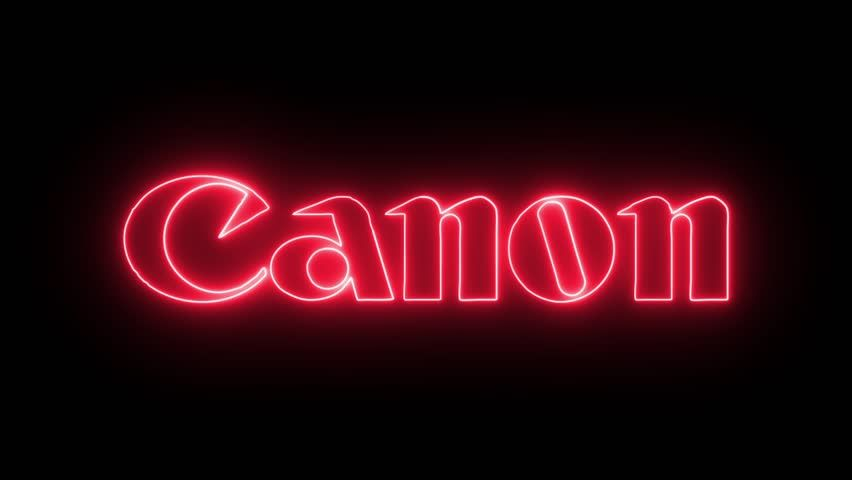 Canon Logo - Canon Logo with Neon Lights. Stock Footage Video (100% Royalty-free ...