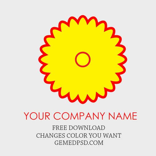 Yellow Flower Shaped Logo - Free Logo Yellow Flower Shaped Red Outline PSD Template ~ Free Logo ...