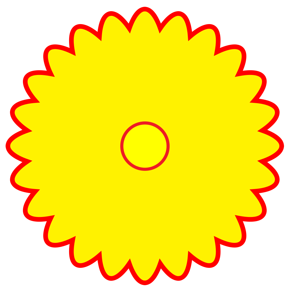 Yellow Flower with Red Outline Logo - LogoDix