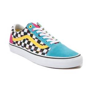 buy \u003e yellow and blue checkerboard vans