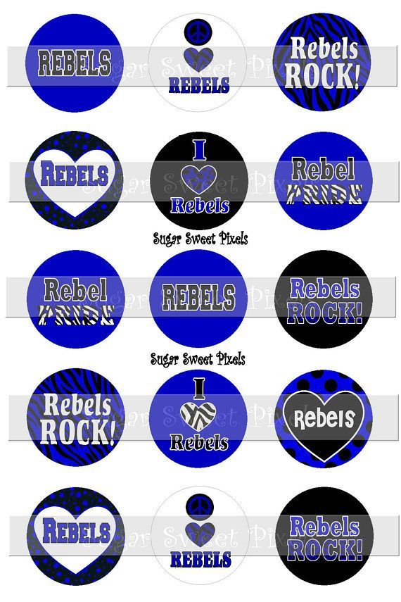 Black and White with Blue Circle Logo - INSTANT DOWNLOAD Rebels Black White & Blue School Mascot | My Shop ...