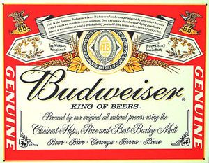 Budweiser Logo - Details about BUDWEISER LOGO POSTER 24 X 24 Inches BAR, MAN CAVE, POOL,  Billiards Room