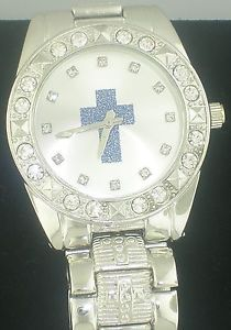 Watch with Cross Logo - CROSS ICEDOUT SIMULATED DIAMONDS SILVER WHITE FACE BLUE LOGO WATCH ...