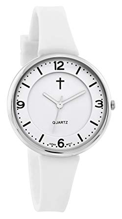 Watch with Cross Logo - Belief Women's | Sporty White Face White Silicon Band with Black ...