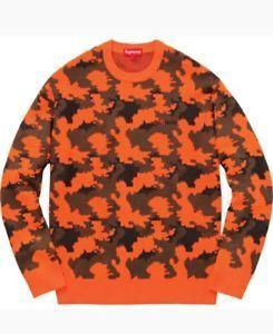 efc8ce729ed Orange Camo Supreme Logo - Supreme Orange Camo Sweater