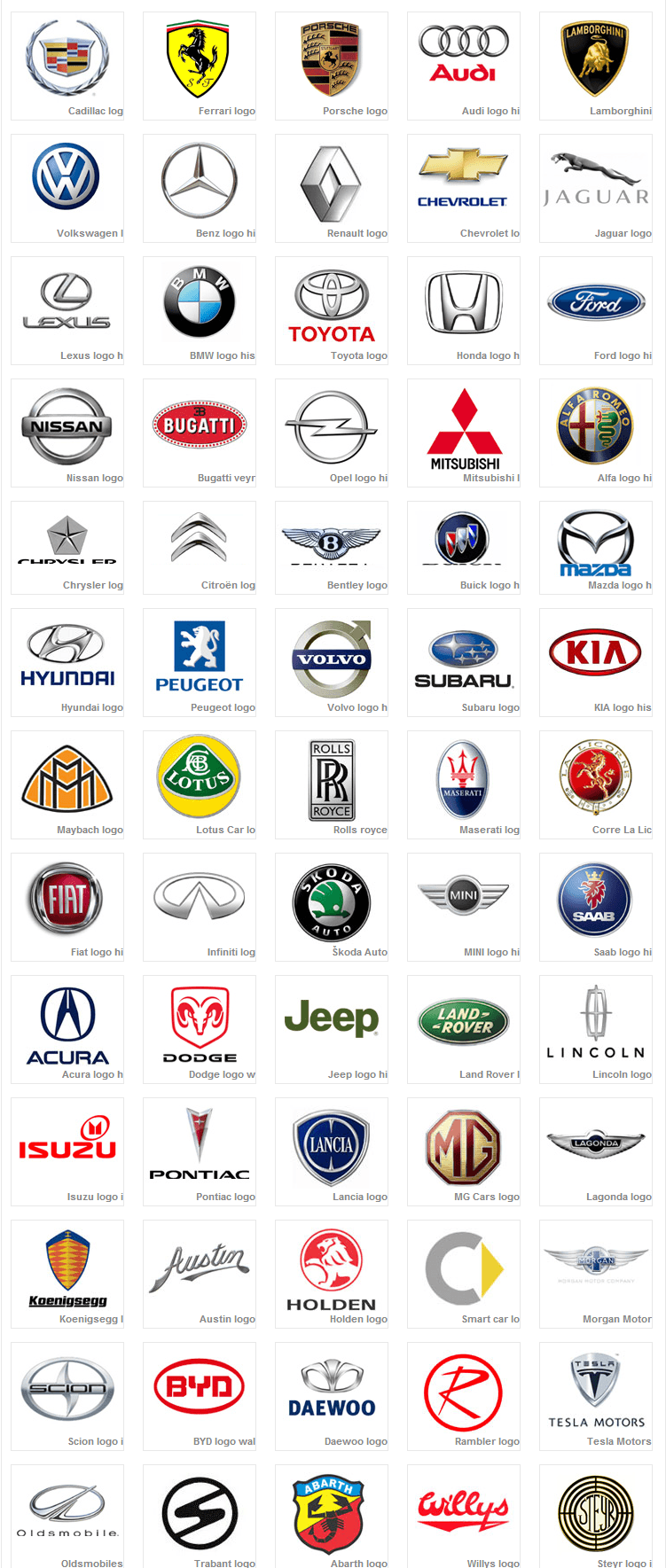 Exotic Car Brand Logo - Car Logos inspiration for logo design. car based, not driving lesson ...