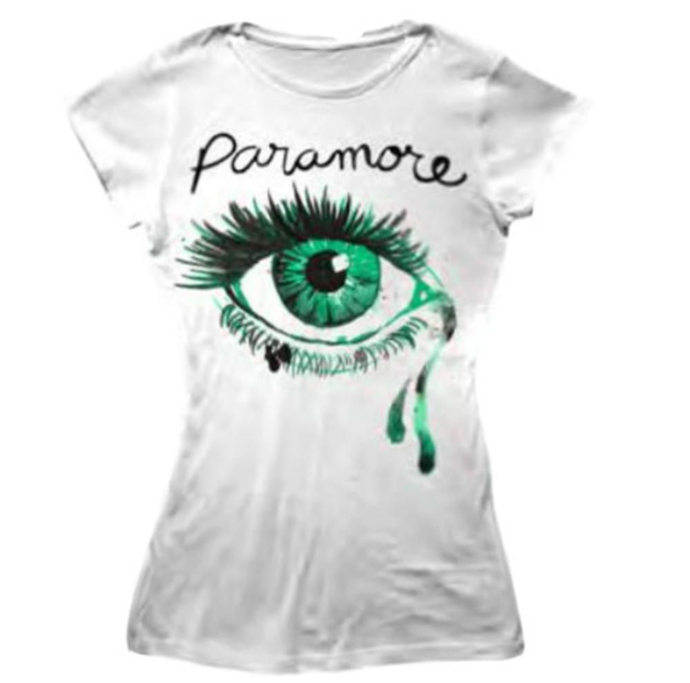 White and Green Eye Logo - Official Skinny T Shirt PARAMORE White Green CRYING EYE Logo All Sizes