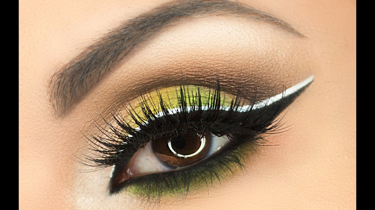 White and Green Eye Logo - Green Eye Makeup Tutorial With Black & White Double Liner - YouTube