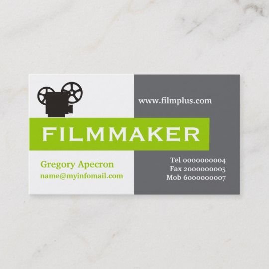 White and Green Eye Logo - Filmmaker grey, white, lime green eye-catching business card ...
