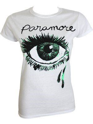 White and Green Eye Logo - Official Skinny T Shirt PARAMORE White Green CRYING EYE Logo XL 14 ...