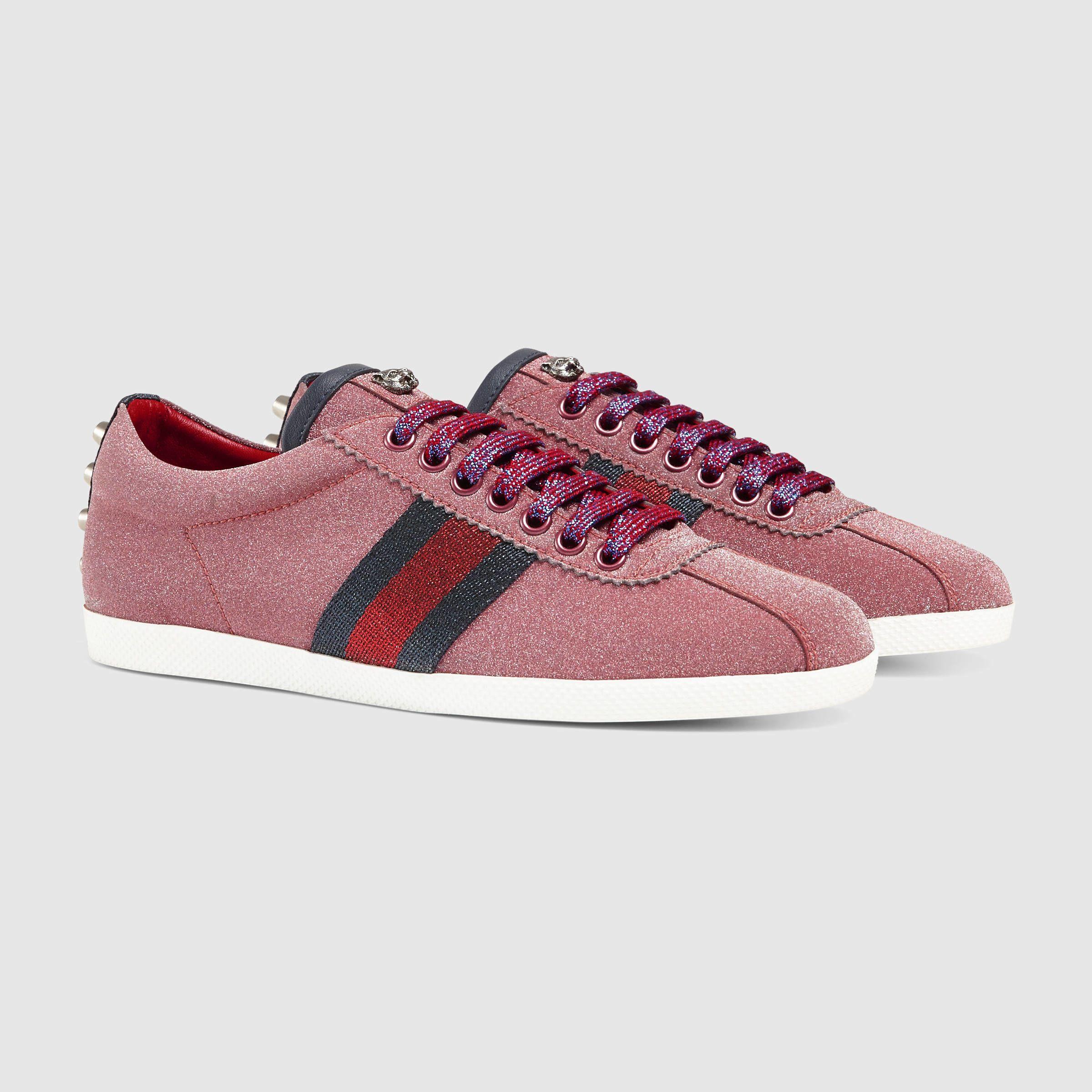 5353c1a13 Gucci Pink Glitter Logo - Gucci Glitter Web Sneaker in Red - Lyst