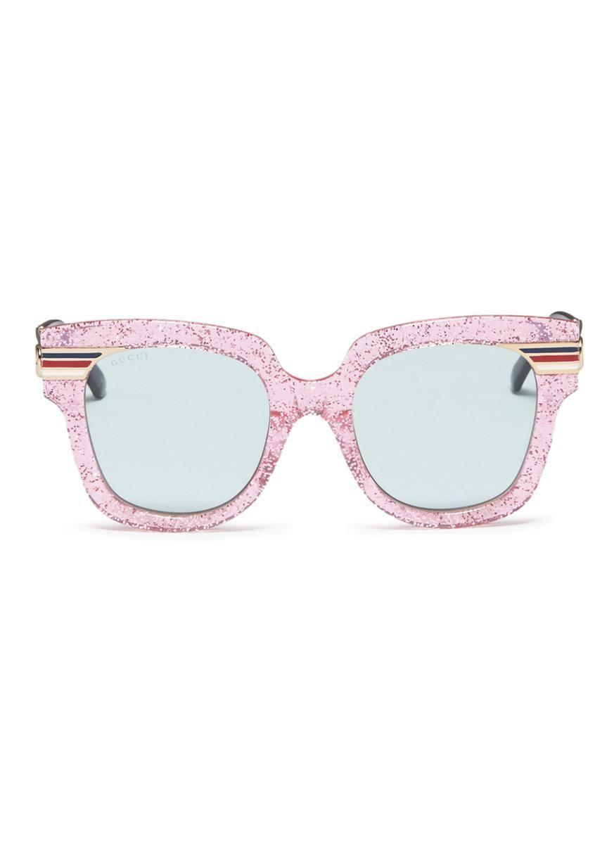 95cfbff80a32 Gucci Pink Glitter Logo - Gucci Web Stripe Temple Glitter Acetate Square  Sunglasses in Pink -
