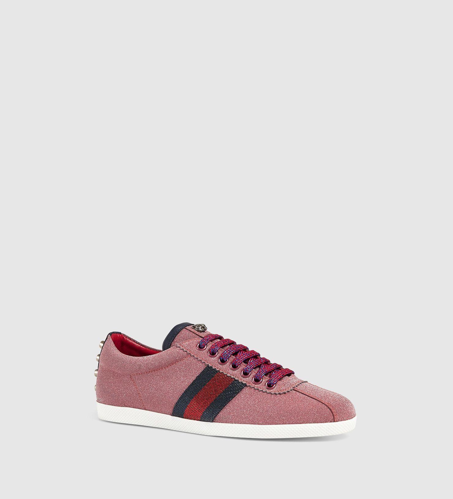 4b2bd1ed7 Gucci Pink Glitter Logo - Gucci Glitter Web Sneaker in Pink - Lyst