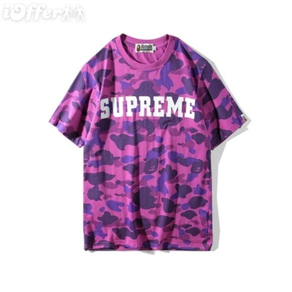 477dc7b051ef Purple BAPE Supreme Logo - SUPREME / BAPE MEN LOGO EMBROIDERY COTTON T-SHIRT  for