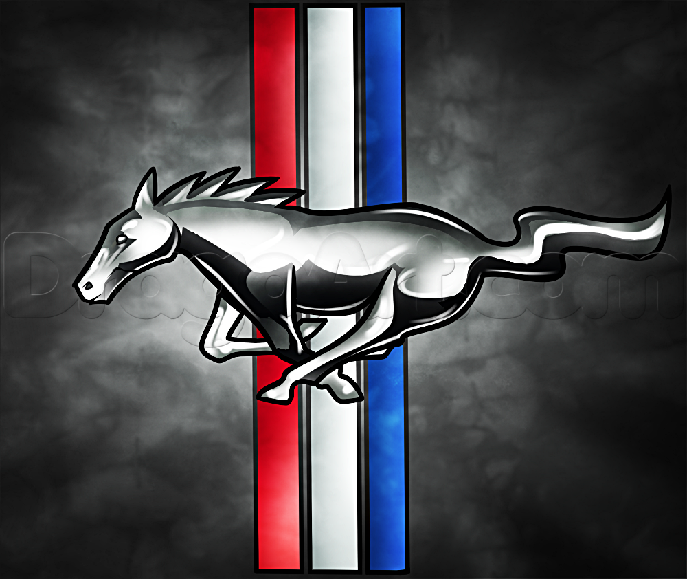 Mustang Logo - How to Draw the Mustang Logo, Step by Step, Cars, Draw Cars Online ...