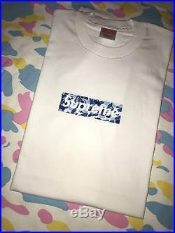 0ba59e2c Supreme BAPE Blue Logo - Supreme x Bape Blue ABC Camo T shirt Size Large DS