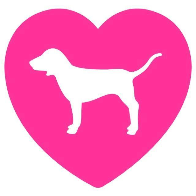 Victoria Secret Pink Logo - Pink Heart Love Dog Victoria Secret Vinyl Decal Sticker 4