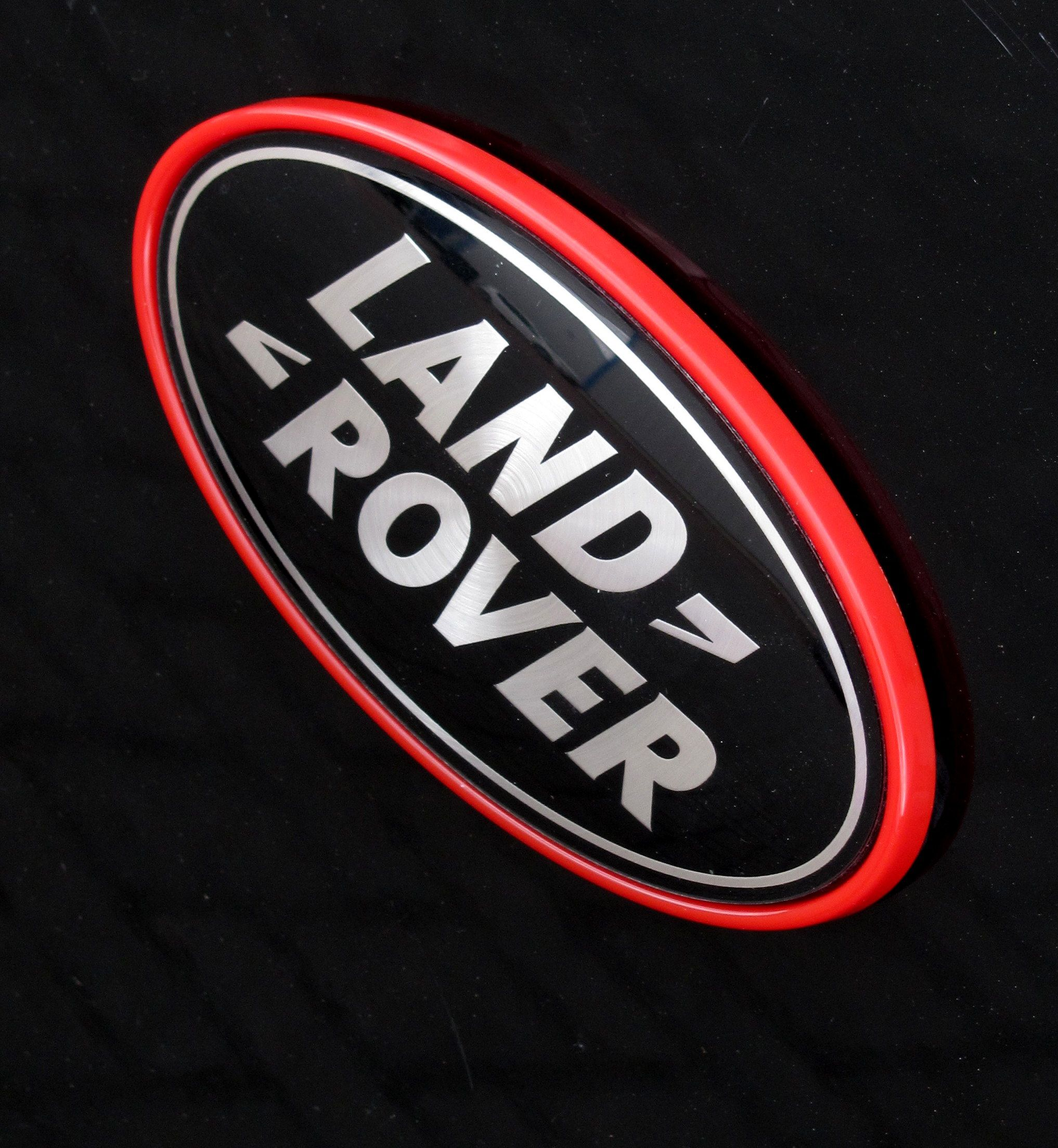 Black and Silver Car Logo - Black & Silver land Rover badge + red plinth frame surround Range ...