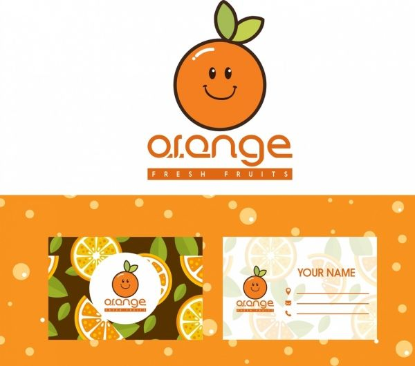 Orange Logo - Name card templates stylized orange logo decor Free vector in Adobe ...