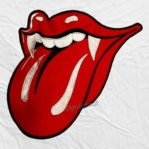 Rolling Stones Tongue Logo - The Rolling Stones Grrr Tongue Logo Embroidered Big Patch Mick ...