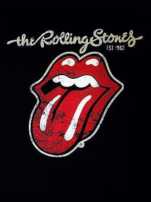 Rolling Stones Tongue Logo - The Rolling Stones Tongue Plastered Logo Lips Lick Official Black ...