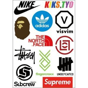 Skateboard Clothing Brands Logo - Fashion Brands Supreme Bape Sneaker Logo Skateboard Laptop Sticker ...