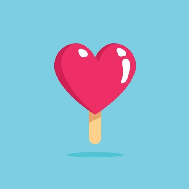 Ice Cream Heart Logo - Modern Cute Romantic Ice Cream Heart Symbol Concept, Heart, Love ...