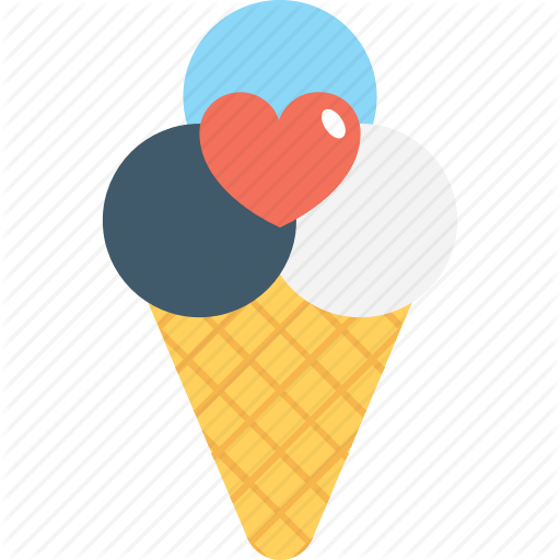 Ice Cream Heart Logo - Cone, heart, ice cone, ice cream, snow cone icon