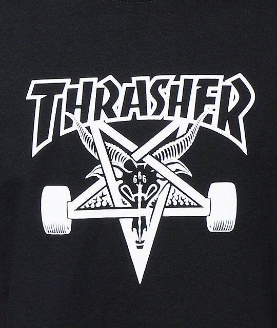 27f649dcbb18 Black and White Thrasher Logo - Thrasher Skategoat Black T-Shirt | Zumiez