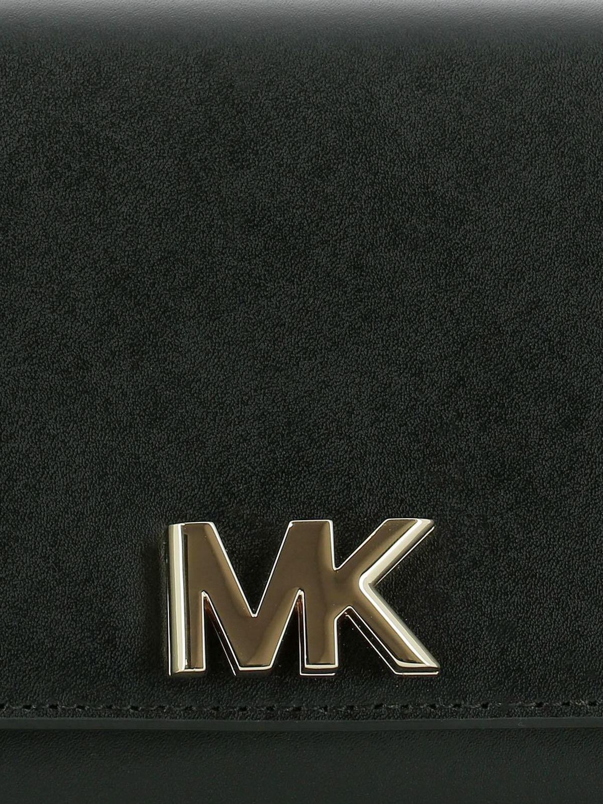 MK Logo - Michael Kors - Mott MK logo black leather clutch - clutches ...