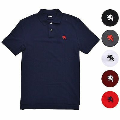 Express Lion Logo - EXPRESS MENS MODERN Fit Pique Polo Shirt Classic Mesh Embroidered ...
