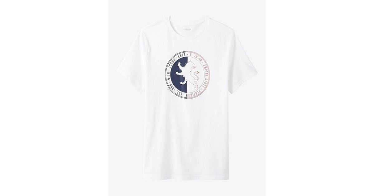 Express Lion Logo - Express Empire State Lion Logo Crew Neck Graphic Tee in White for ...