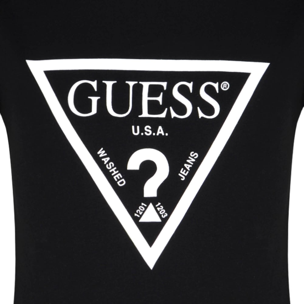 Guess Logo - Guess Girls Black Short Sleeve T-Shirt with White Guess Logo Print ...