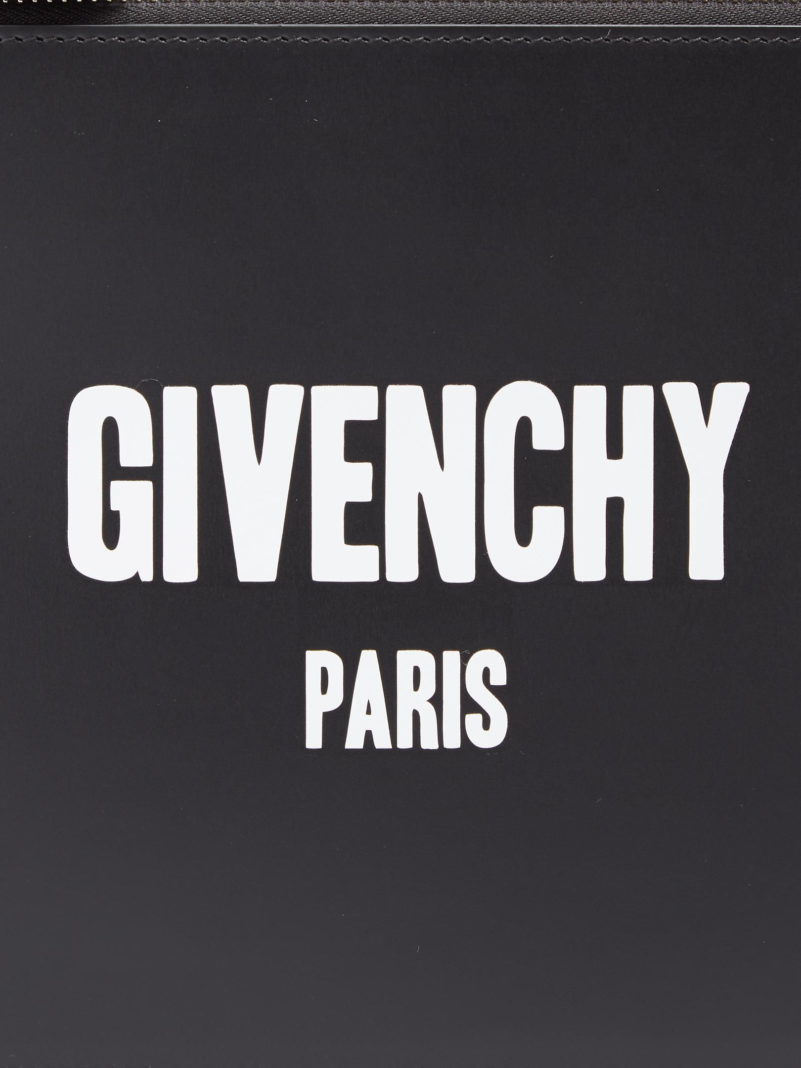 Givenchy Logo - Lyst - Givenchy Logo-print Small Leather Pouch in Black for Men