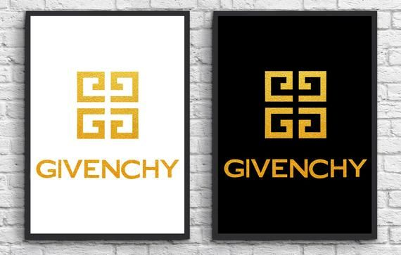 Givenchy Logo - 2 Prints INSPIRED BY Givenchy Logo Art Black white Gold | Etsy