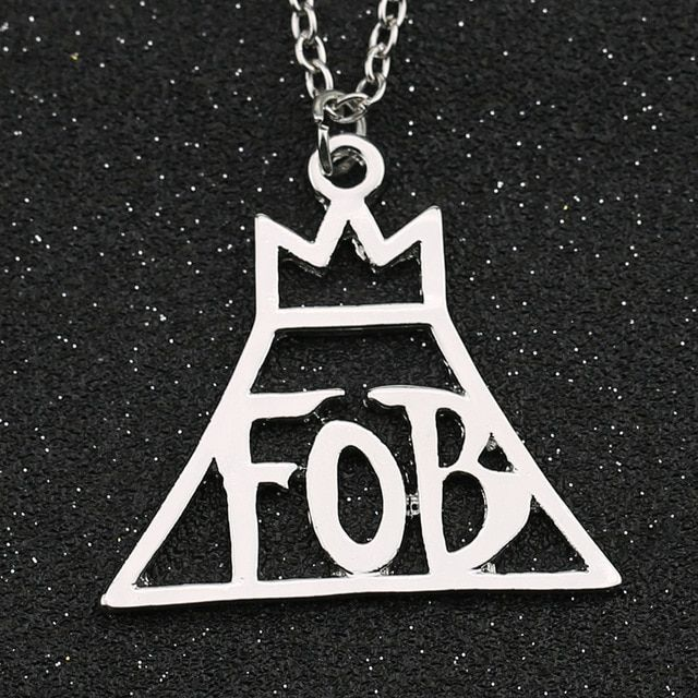 FOB Fall Out Boy Logo - Fall Out Boy Necklace Rock Band FOB Letter Crown Logo Patrick Stump ...
