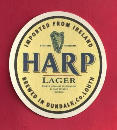 Harp Beer Logo - Harp Lager Coaster | Brewed in Ireland for Guinness, by Harp… | vin ...