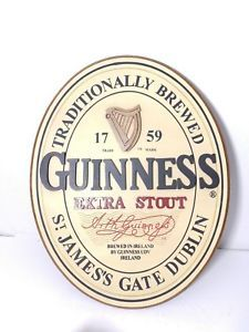 Harp Beer Logo - Official GUINNESS Extra Stout Harp Logo 18 x 14 Oval Wooden Beer ...