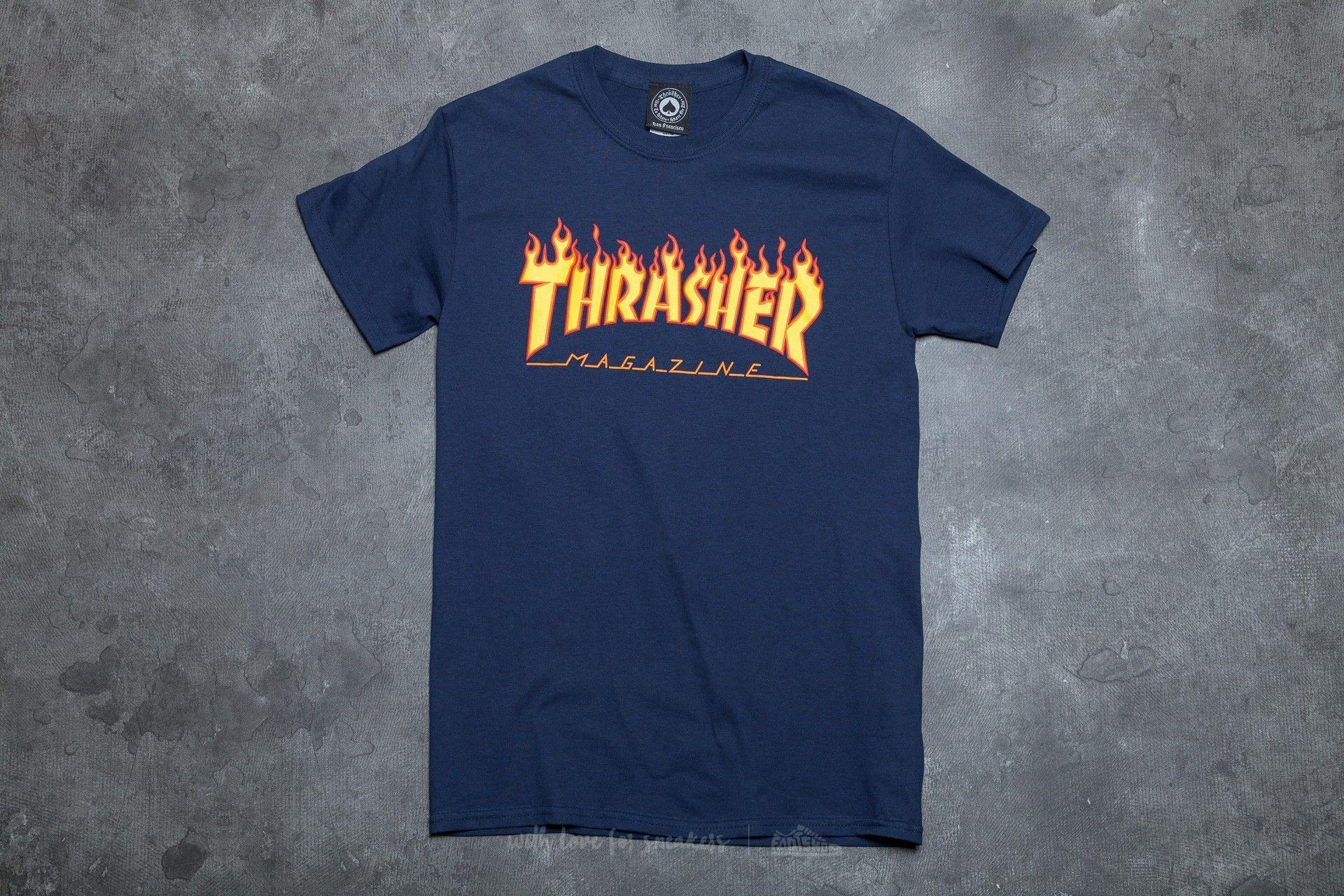 9fd06d8786d2 Blue G with Flame Logo - Thrasher Flame Logo T-Shirt Navy Blue | Footshop