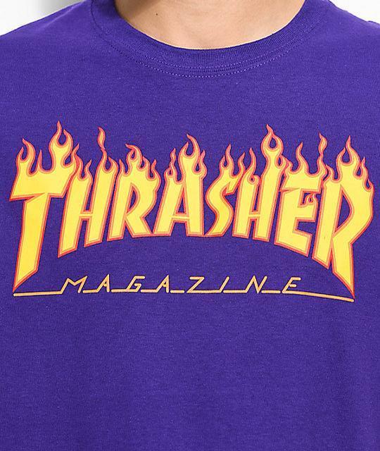 d7939033f8fd Blue G with Flame Logo - Thrasher Thrasher Flame Logo T-Shirt (Purple)