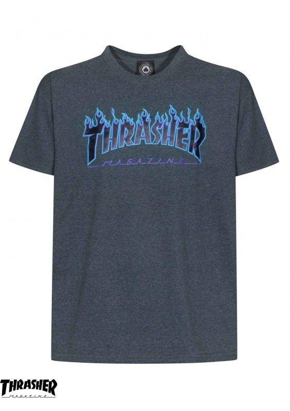 58fd2295c171 Blue G with Flame Logo - Thrasher Flame Logo Dark Heather T-Shirt