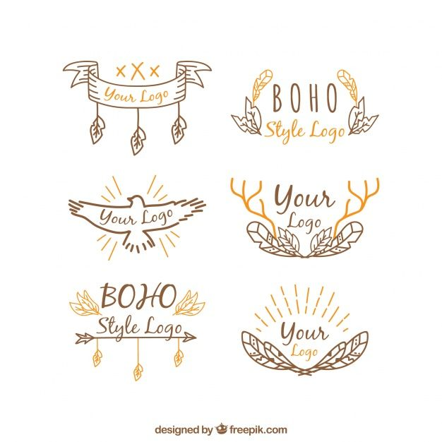 Orange Hand Logo - Hand-drawn logos with orange details in boho style Vector | Free ...