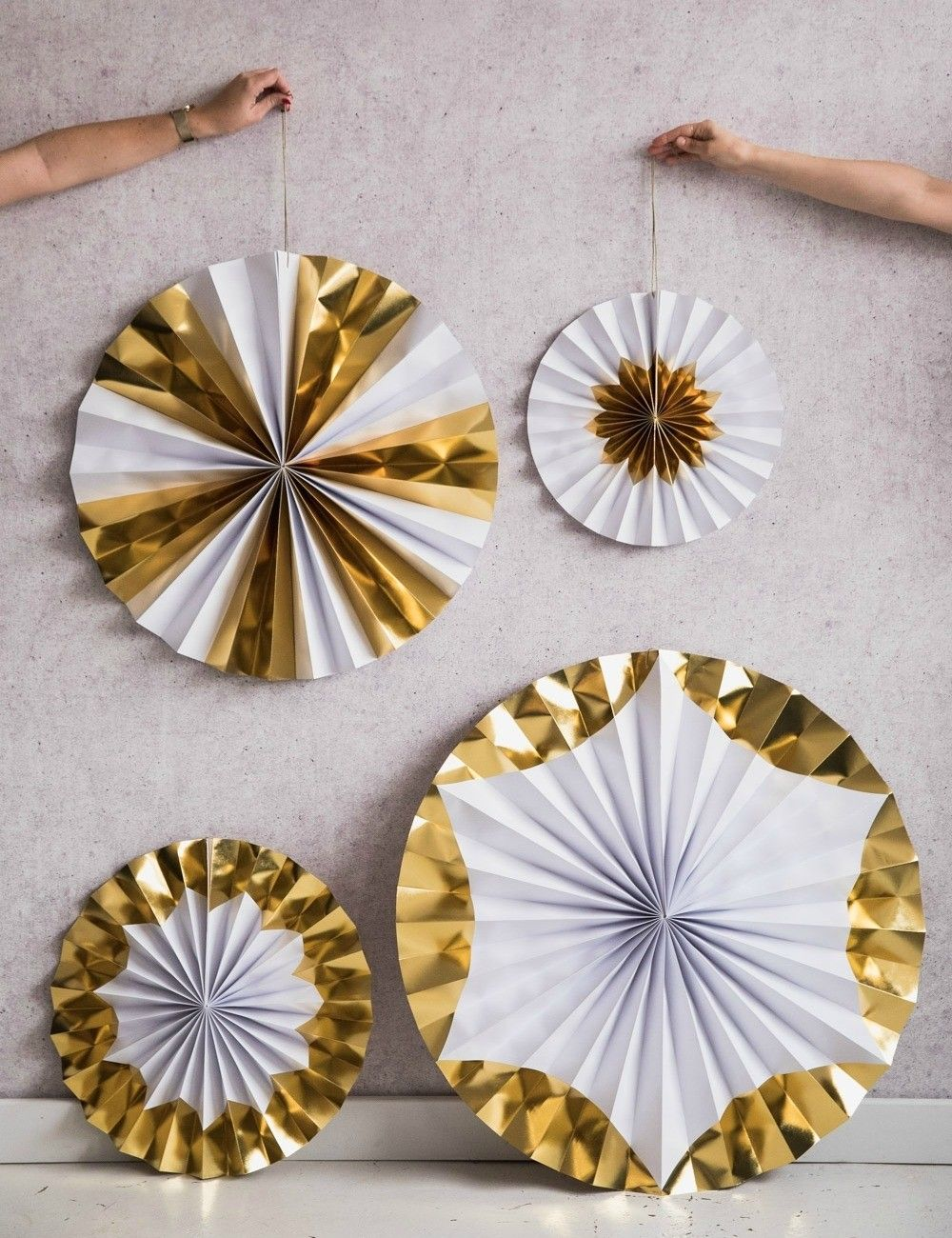 Silver C Yellow Triangle Logo - Giant Gold & White Pinwheel Decorations at Rose & Grey