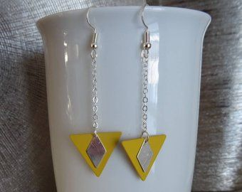 Silver C Yellow Triangle Logo - Red triangle shaped earrings | Etsy