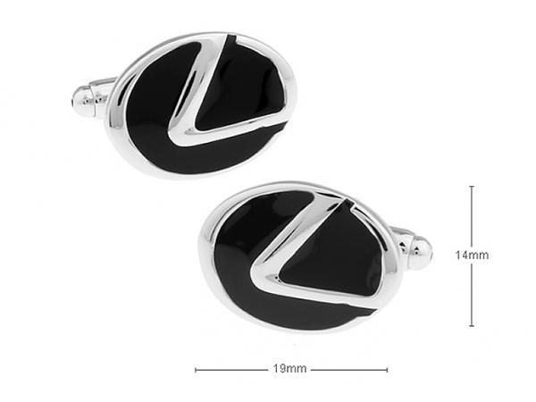 Black and Silver Car Logo - Mens Black and Silver Plated LEXUS Car Logo Cufflinks
