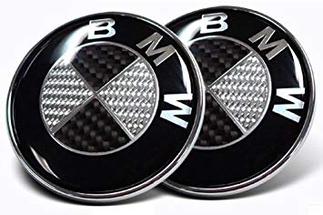 Black and Silver Car Logo - BMW Black Silver Carbon Fiber Emblem Badge Logo for Hood Front ...