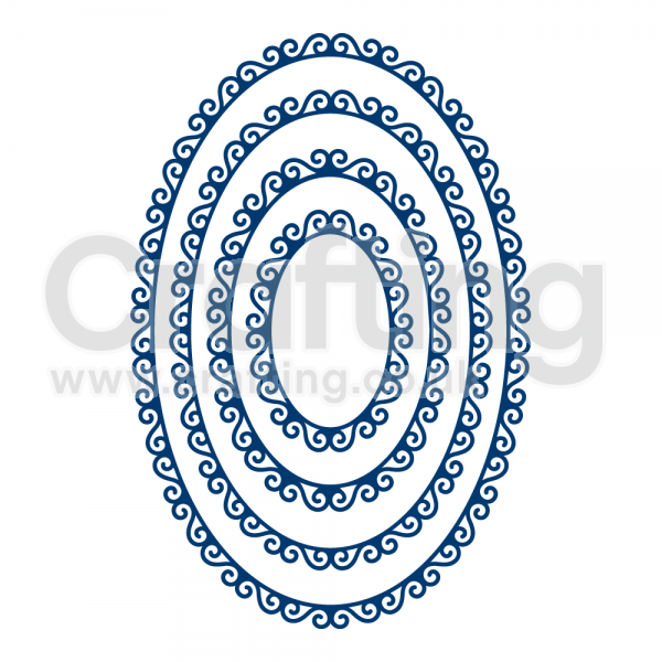 Blue Oval Swirl Logo - Tattered Lace Essential Swirl Edge Oval Die