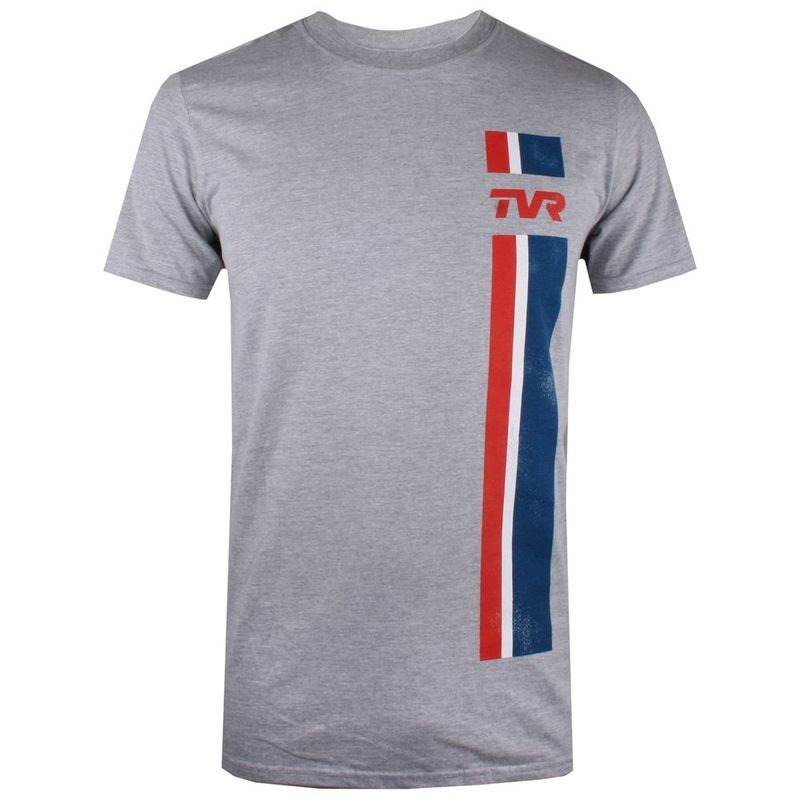 TVR Logo - Petrol Heads Mens TVR Logo Stripes T-Shirt (Grey Marl) | Sportpursuit.