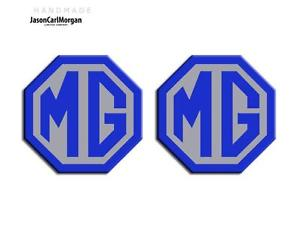Blue and Silver Car Logo - MG TF LE500 Style 70mm Car Badge Insert Set Front Rear Logo Blue ...