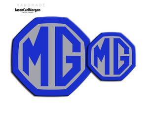 Blue and Silver Car Logo - MG ZS LE500 MK2 Car Front Rear Insert Badge Set 59mm 95mm ...